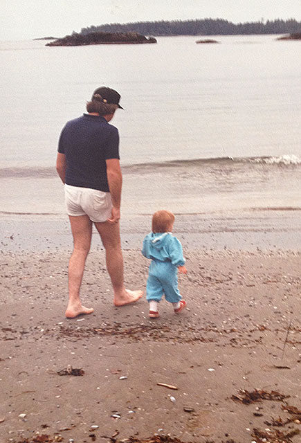 Jennifer Clarke and her dad at the beach.