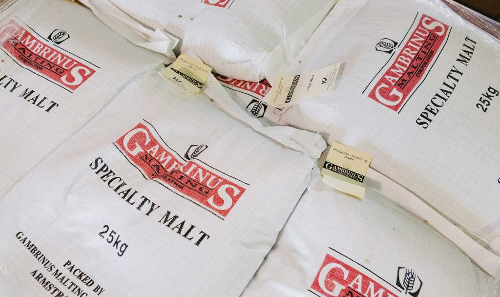 Bags of malt for the production of craft beer.