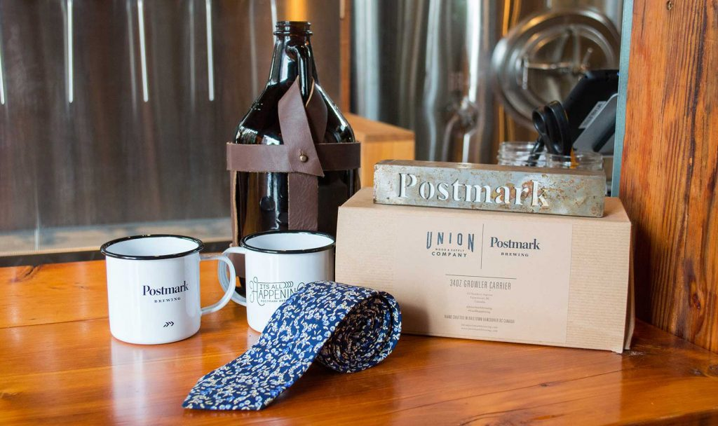 Indochino tie at Postmark Brewing.