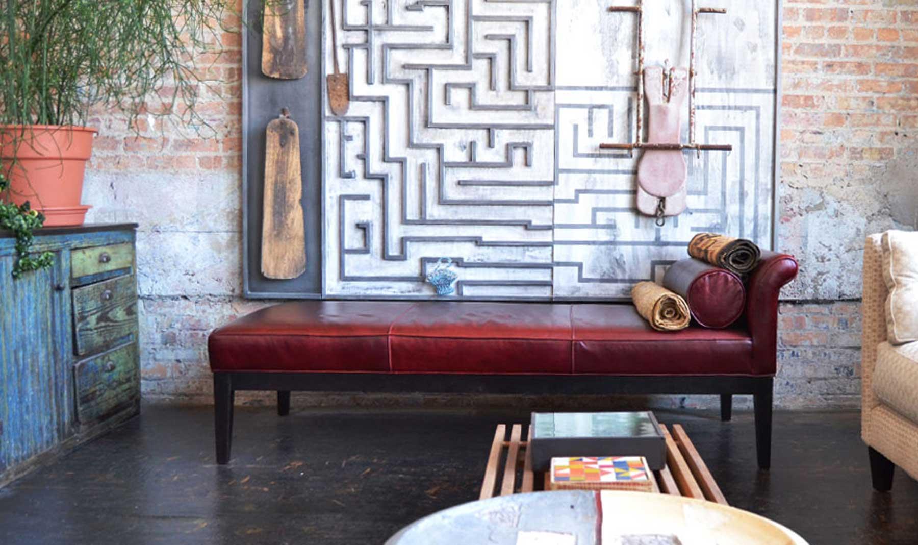 Artist Nick Cave's burgundy sofa