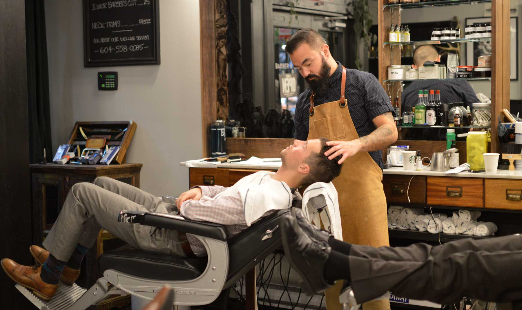 Steve getting a close shave @ Barber & Co., Vancouver, BC