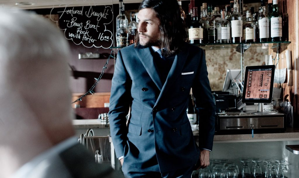 What to Wear to Pre-Wedding Festivities: Look debonair at your rehearsal dinner in the Essential Blue Sharkskin Suit