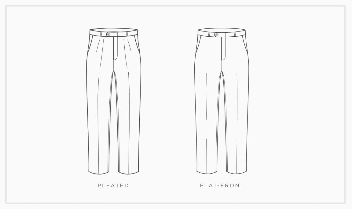 Pleated Pants No Cuff