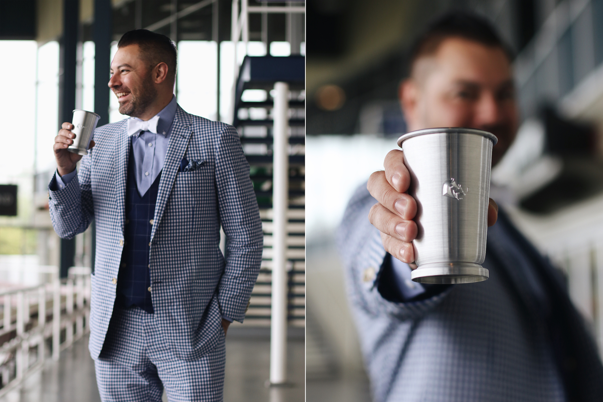 Tyson strategically pairs the INDOCHINO Royal Check Wool Cotton Suit with an Indigo Windowpane Vest.