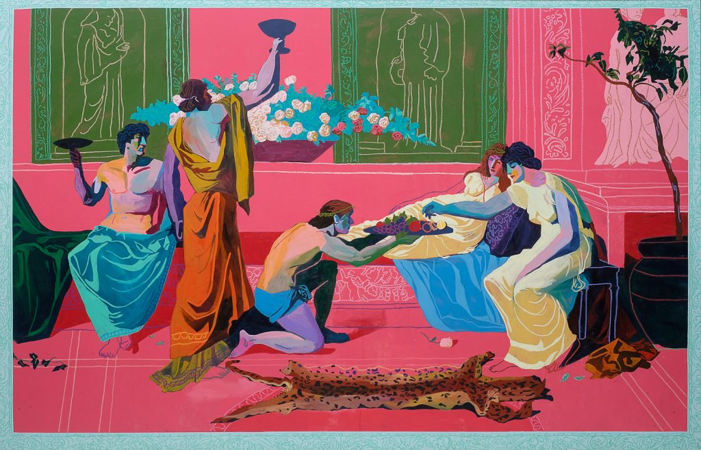 "Expensive Painting (The Banquet) by Andy Dixon, 103"" X 66"", Acrylic & oil pastel on framed canvas, 2016"